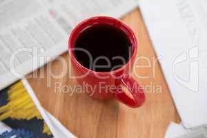 Coffee served in red mug