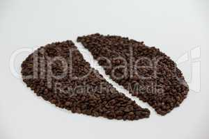Coffee beans forming coffee bean shape