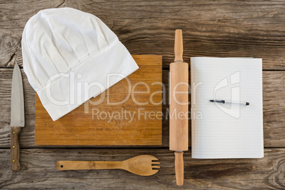 Kitchen equipments, chef hat and dairy