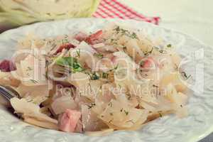 fresh cabbage with bacon