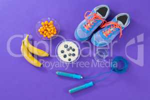 Shoes, banana, water glass, skipping rope and breakfast