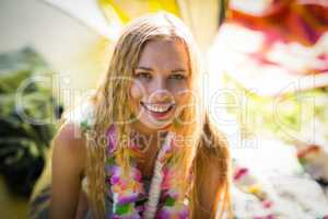 Beautiful woman smiling at music festival