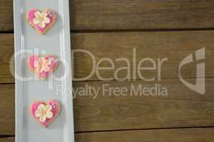 Heart shape cookies in tray