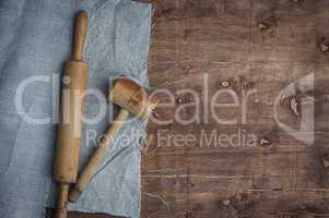 Wooden kitchen items skalka and hammer for beating meat