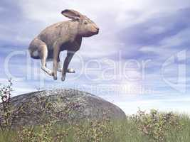 Jumping hare - 3D render