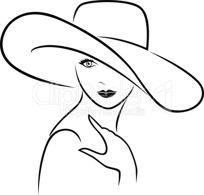 Attractive girl in wide-brimmed hat