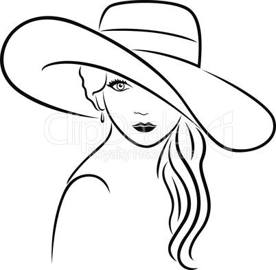 Attractive women in wide-brimmed hat