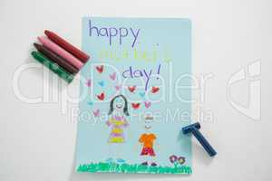 Happy mothers day greeting card with colored crayons