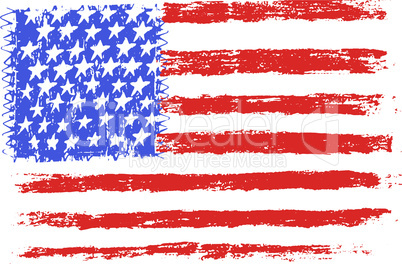 American flag, pencil drawing illustration kid style vector illustration