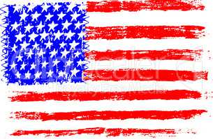 American flag, pencil drawing illustration kid style vector illustration