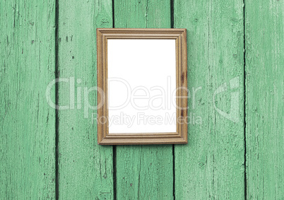 empty wooden frame hanging on wooden wall