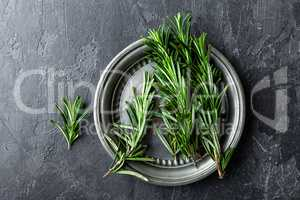 Fresh rosemary twigs on dark culinary background, top view, flat lay, copy space