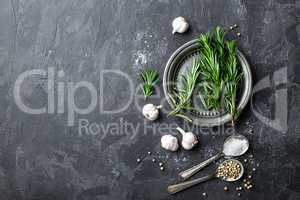 Rosemary, garlic, salt and white pepper, culinary background with various spices, directly above, flat lay, copy space