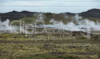 Hot Steam in Geothermal Area Krisuvik in Iceland