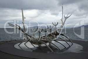 Symbol of Reykjavik, viking ship monument, Iceland.