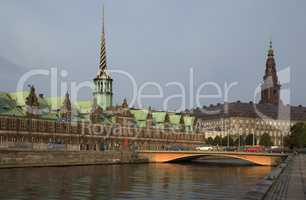 View on Christiansborg Palace over the channel in Copenhagen.