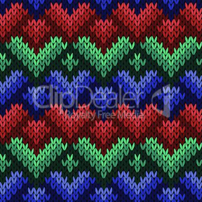 Knitting seamless pattern with stylized hearts