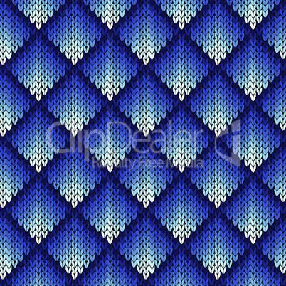 Knitting seamless geometric pattern in blue hues
