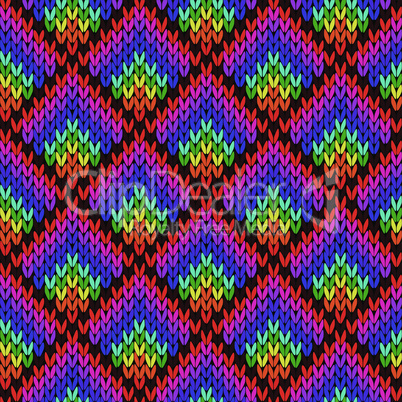 Knitting seamless colourful geometric pattern