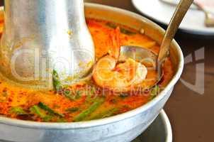 Tom Yum Goong soup, fire pot
