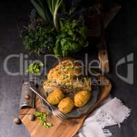 Stuffed cauliflower with mince and Hasselback potatoes