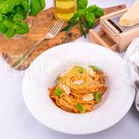 Pasta with cherry tomatoes, garlic and Parmesan cheese