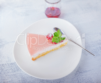Piece of raspberry yogurt cake