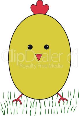 Funny yellow chicken