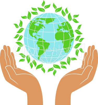 Green Earth in human hands