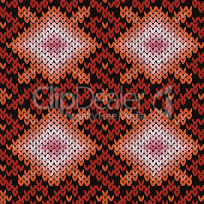 Ornate knitting seamless pattern in warm hues