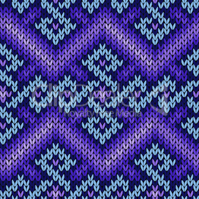 Ornate knitting seamless pattern in blue and violet