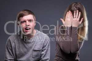 Portrait of emotion teenage couple