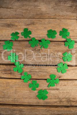 St Patricks Day shamrocks forming heart shape