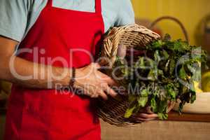 Mid section of male staff holding leafy vegetables in basket at organic section