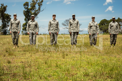 Group of military soldiers standing in line