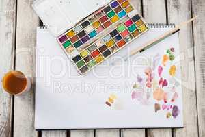 Drawing equipments on wooden surface