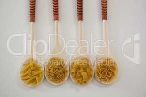 Spoons filled with varieties of pasta