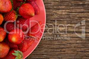 Close-up of fresh strawberries in plate