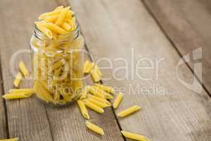 Glass jar filled with pinnate pasta