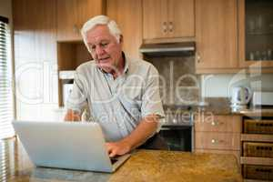 Senior man using laptop in the kitchen