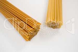 Bunches of raw spaghetti
