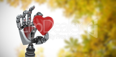 Composite image of three dimensional image of robot showing red heard shape decoration 3d