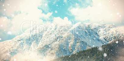 Snow covered mountain in forest 3d