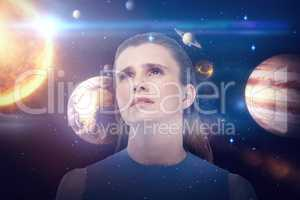 Composite image of low angle view of sad woman looking up 3d