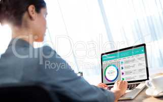 Composite image of graphic image of bank account web site