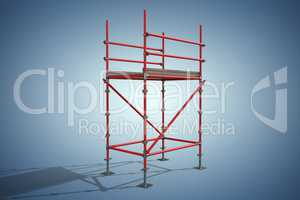 Composite image of three dimension image of red scaffolding structure