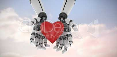 Composite image of 3d image of cyborg holding heart shape decor