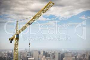 Composite image of studio shoot of a crane