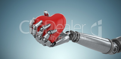 Composite image of three dimensional image of cyborg holding heard shape 3d