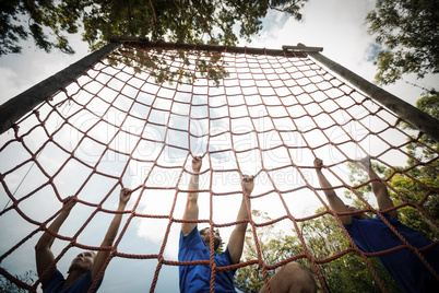 People climbing a net during obstacle course